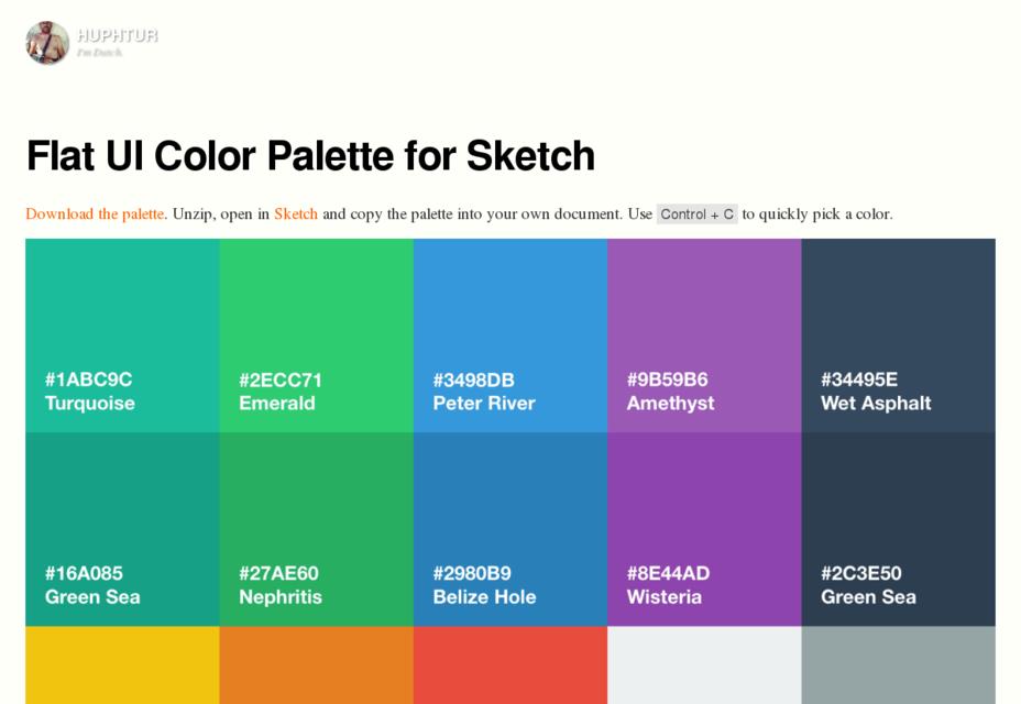 Paleta de colores plana UI para boceto