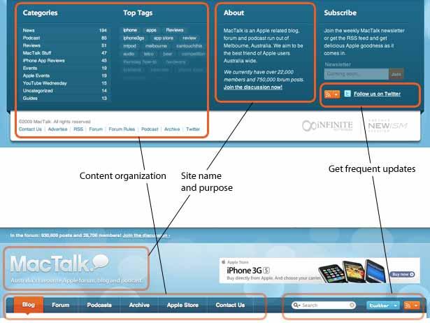 Diagrama que muestra elementos comunes en el encabezado y pie de página de Mac Talk