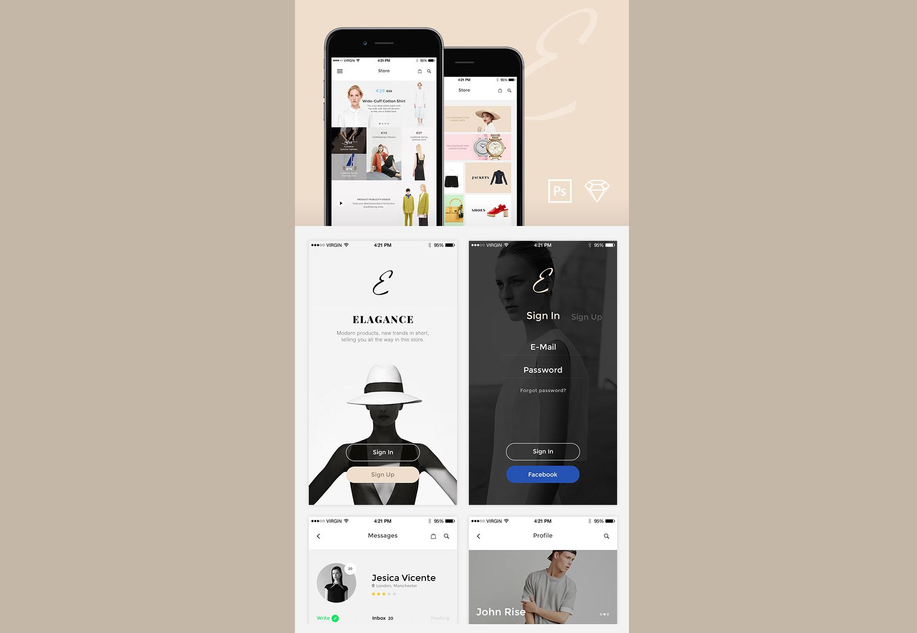 Elegance: Soft Fashion iOS-UI-kit met Schema