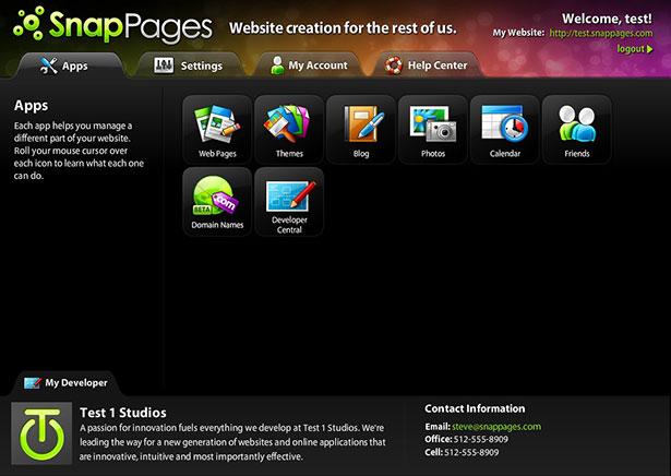 Interfaz de la aplicación Snap Pages