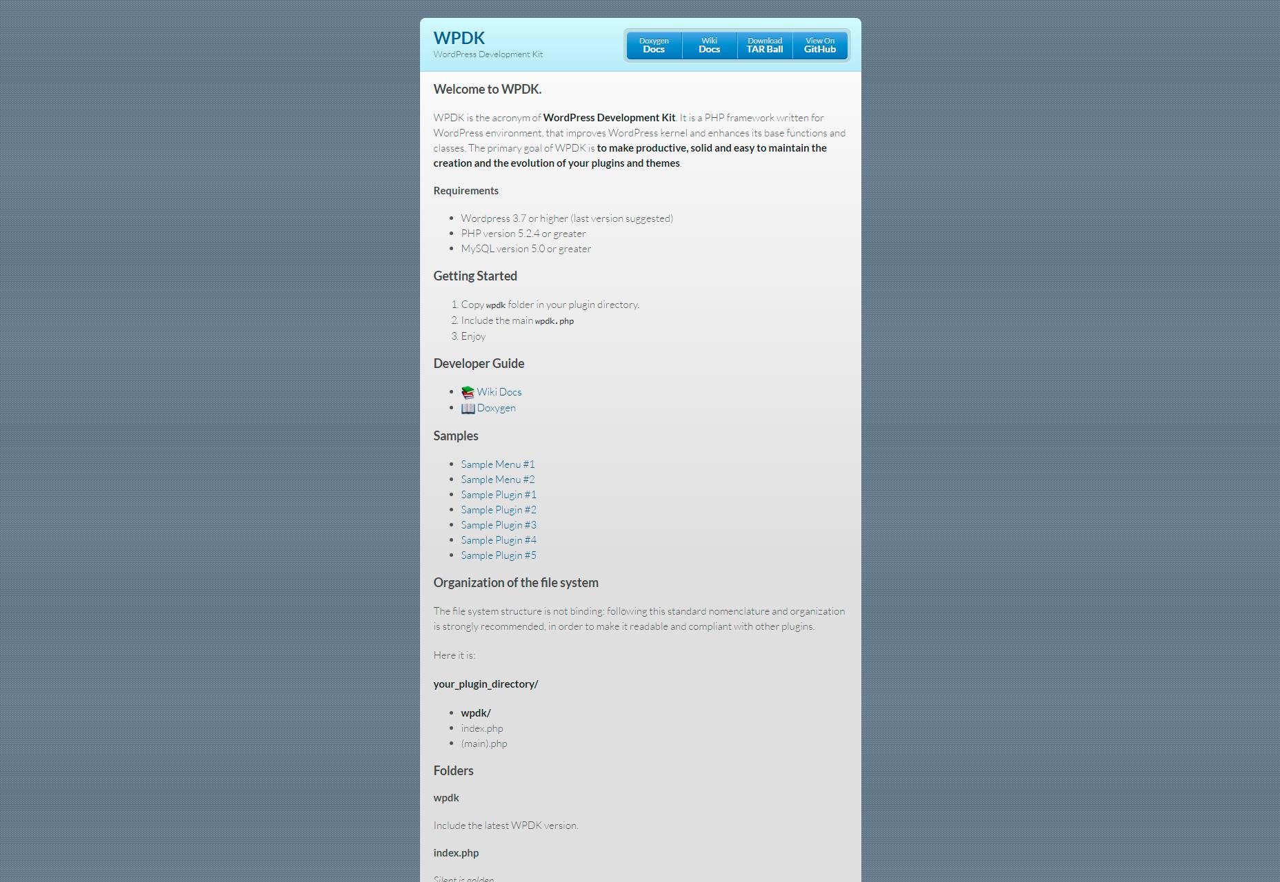 WPDK: kit de desarrollo de WordPress