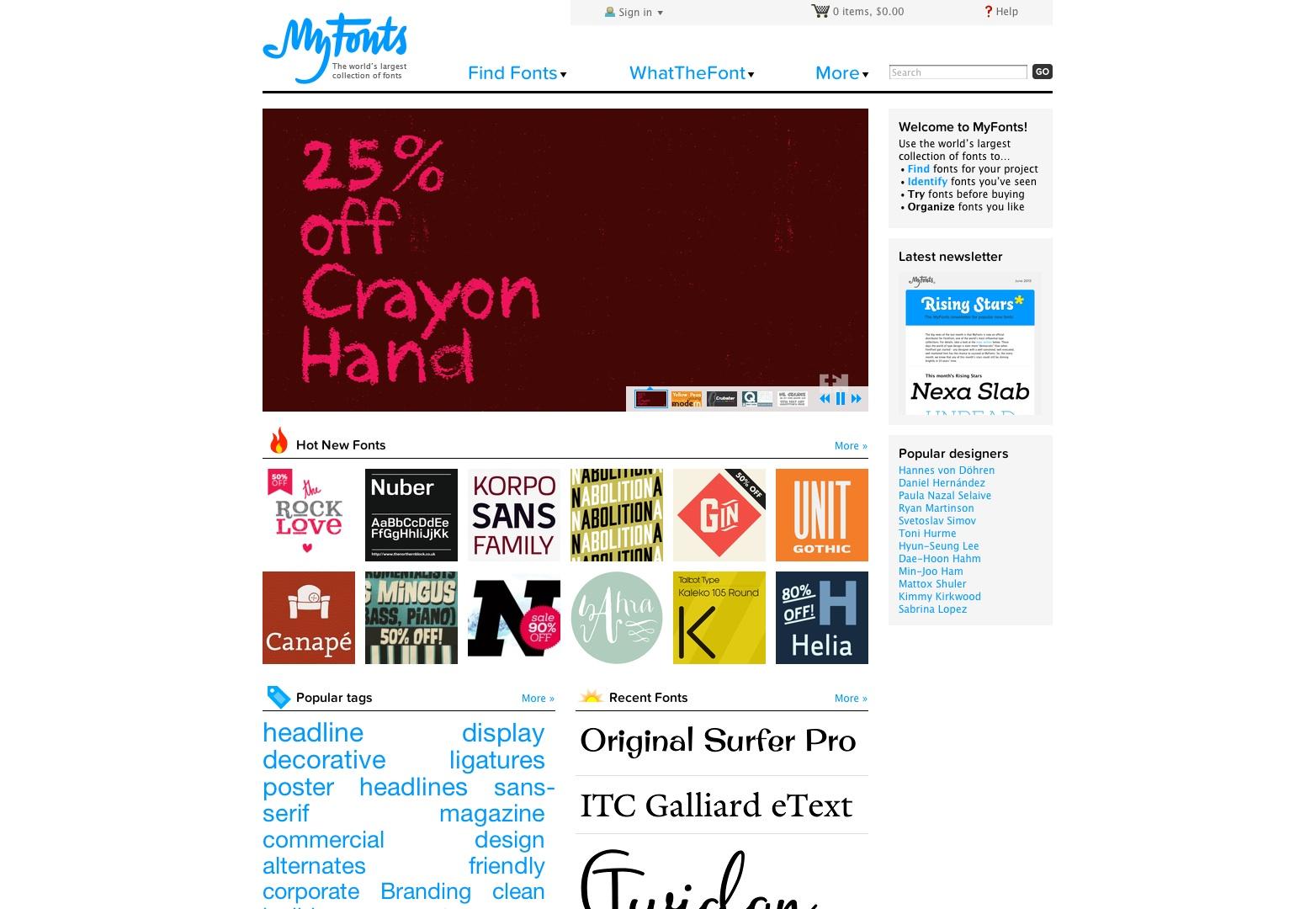 MyFonts: Webfonts en bureaubladlettertypen