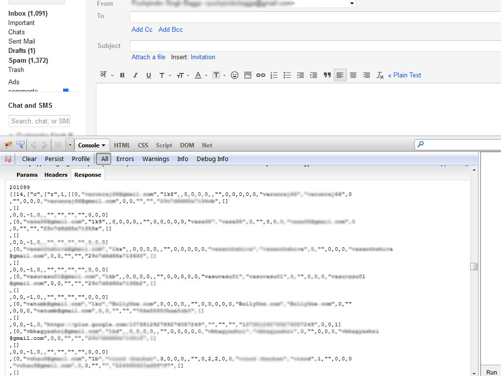 Gmail usa foxycomplete con datos locales una vez que el usuario inicia sesión.