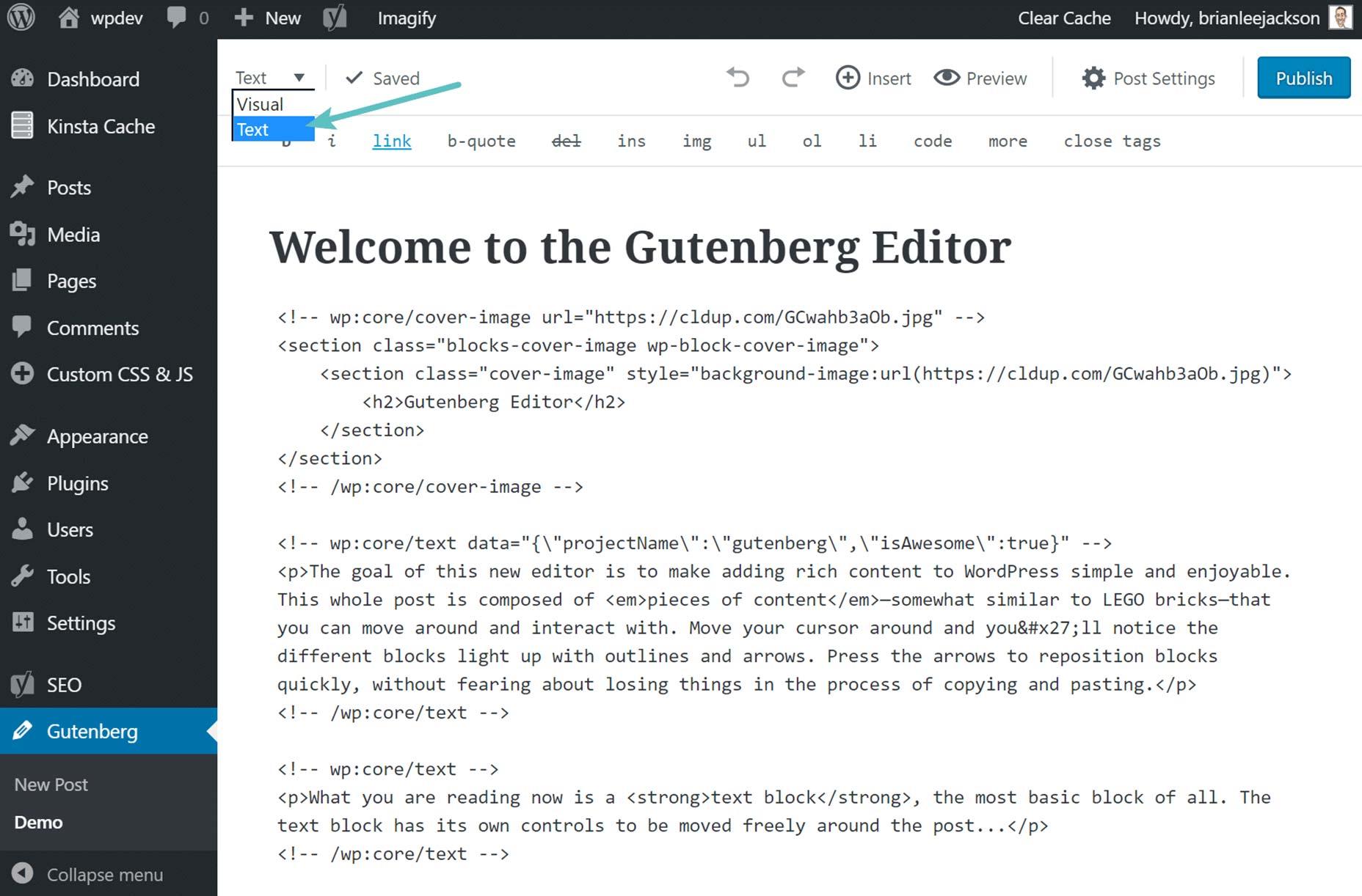 gutenberg-editor de texto