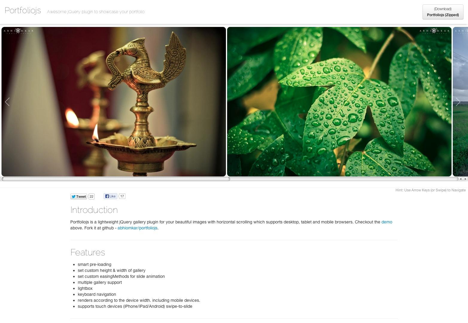 Portfoliojs - plugin jQuery pro vaše krásné portfolia s horizontálním rolováním
