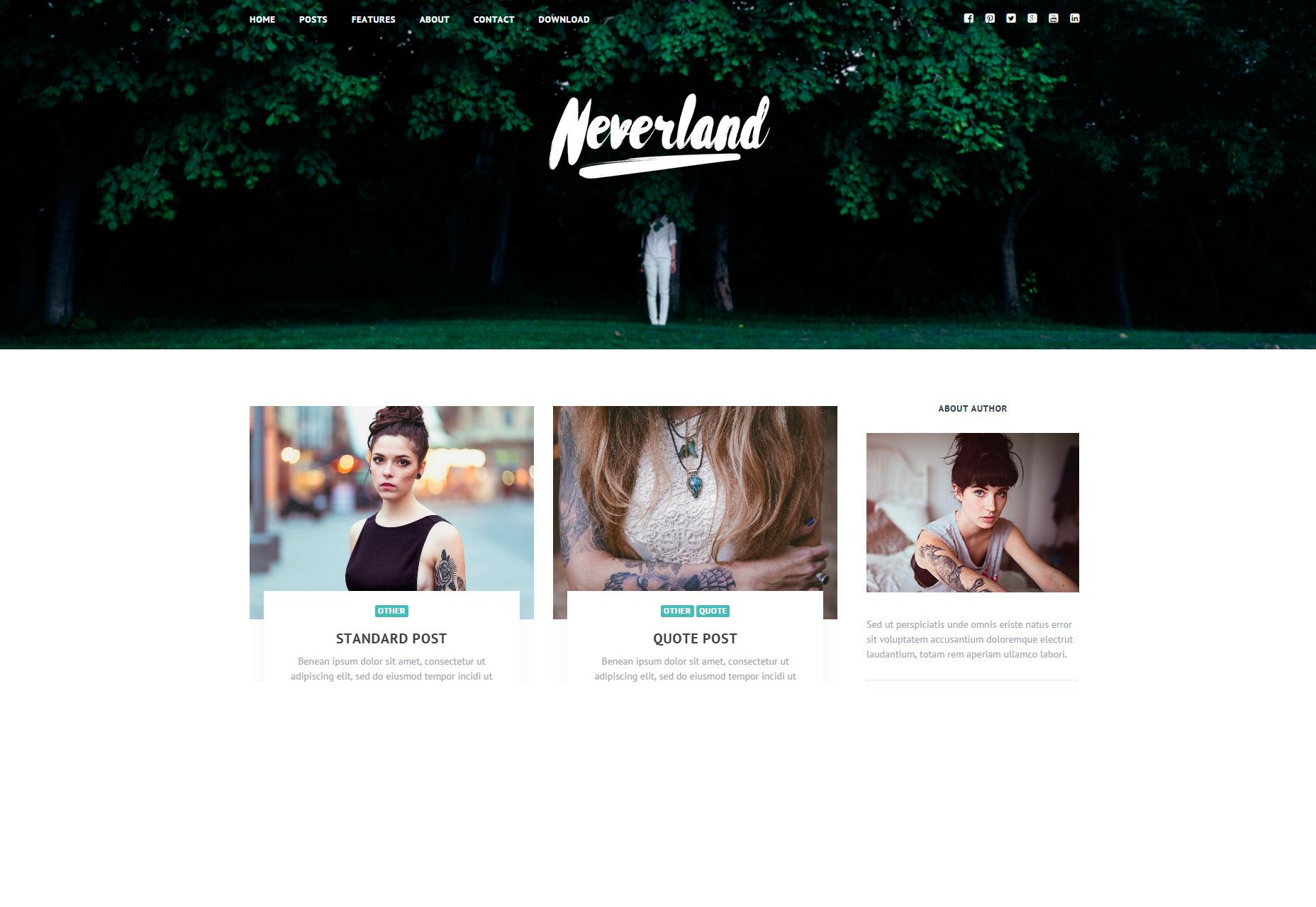 Neverland: gratis persoonlijke blog WordPress-thema