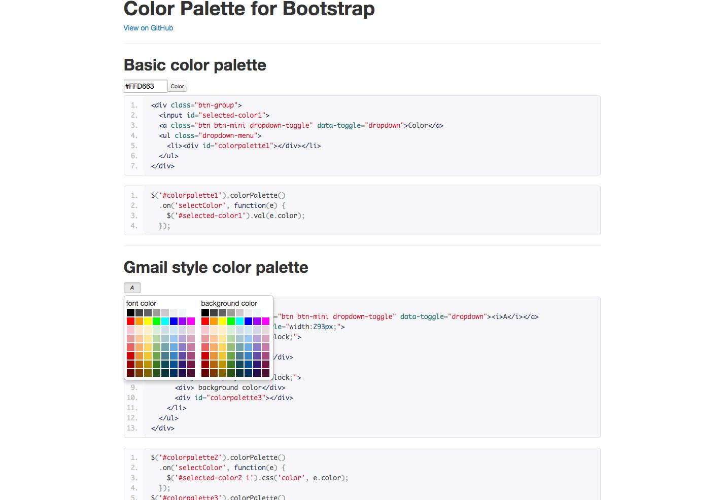 paleta de colores para bootstrap