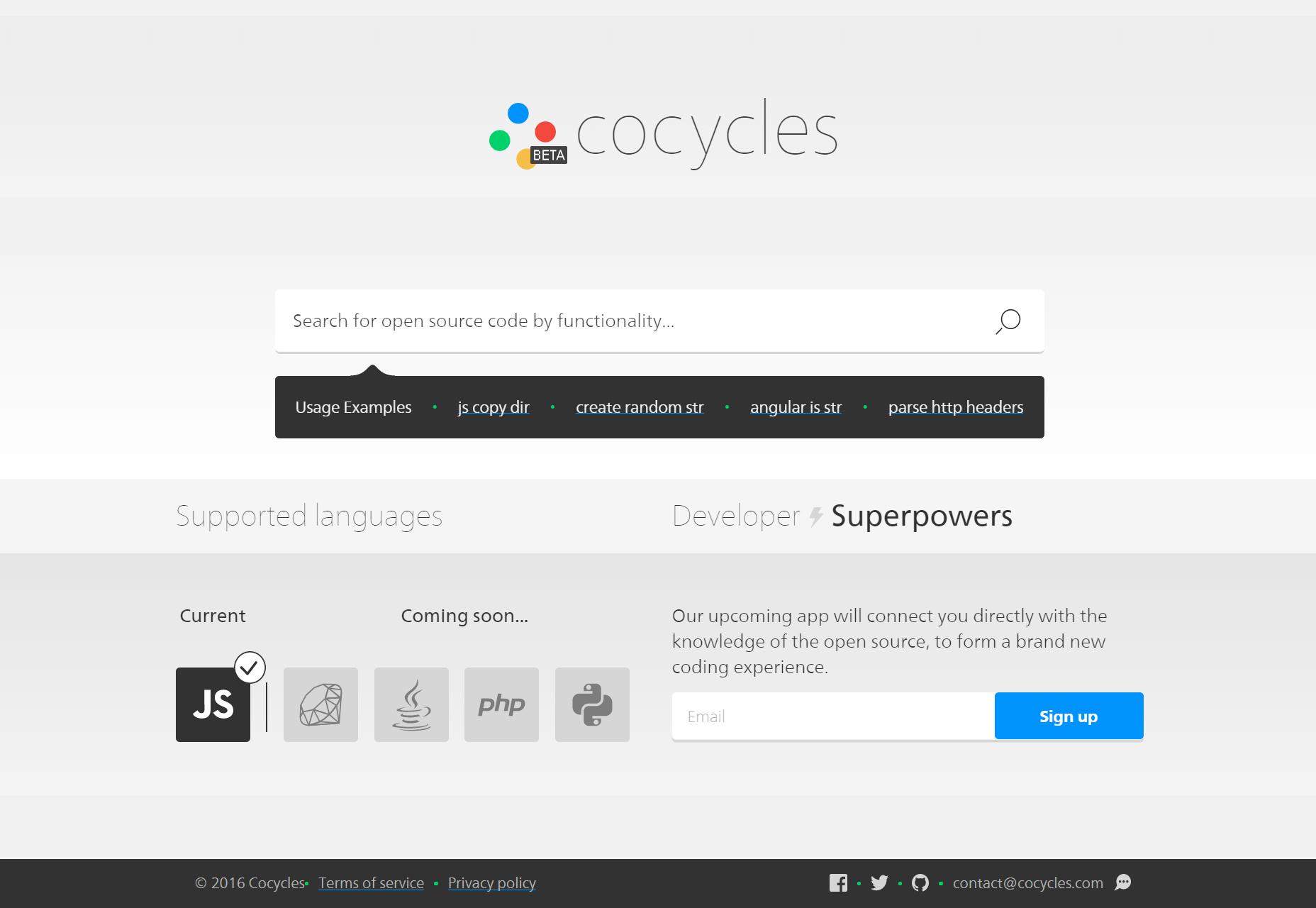 Cocycles: Toiminnallisuus Code Search