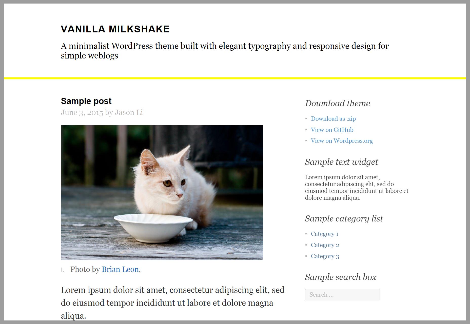 Vanille milkshake: eenvoudig bloggen WordPress-thema