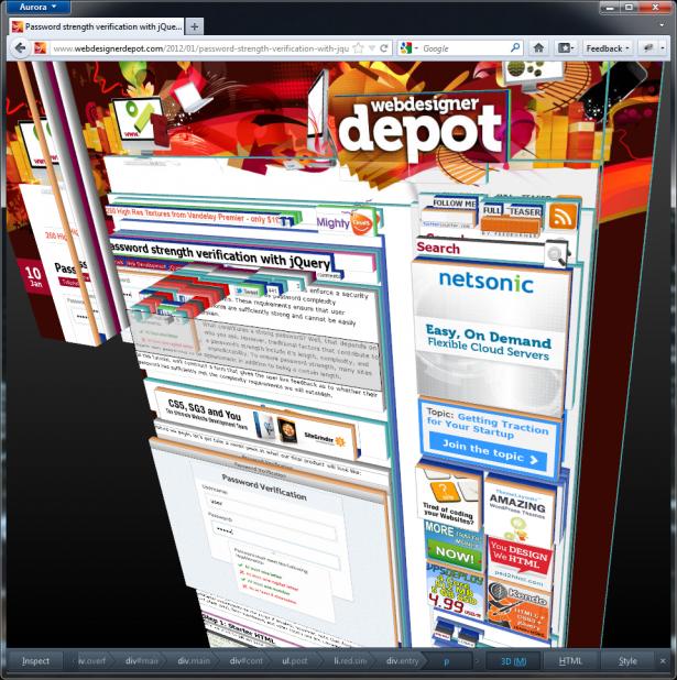 The Firefox 3D inspector analylzing Web Designer Depot