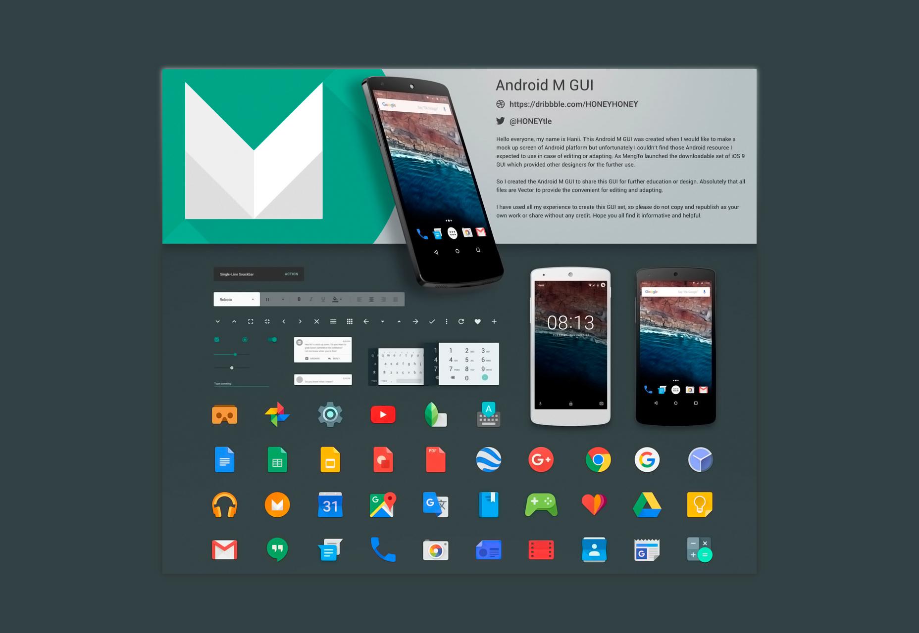 Kit de interfaz gráfica de usuario de Android M Sketch