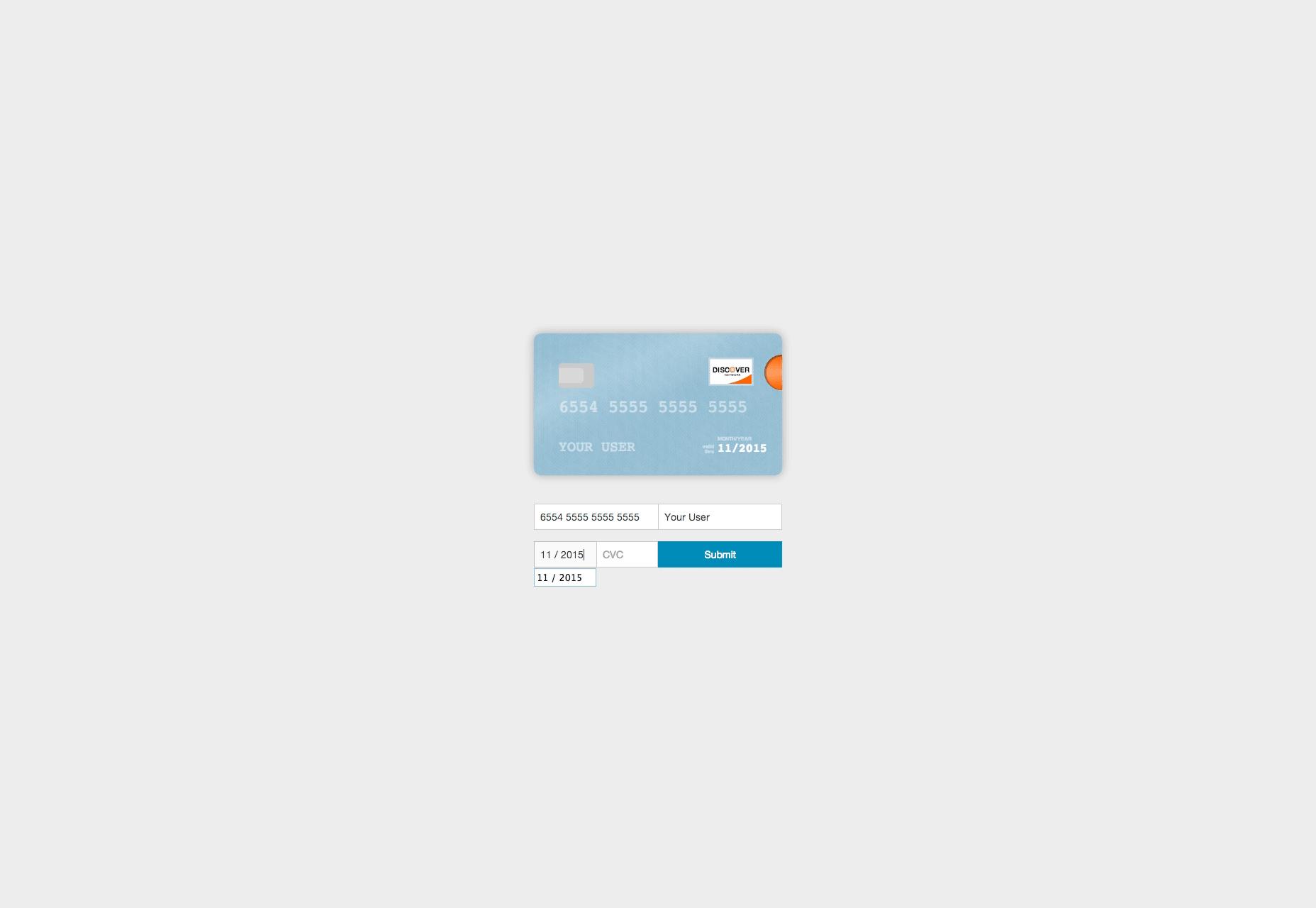 Tarjeta: información de la tarjeta de crédito JavaScript Visualizer