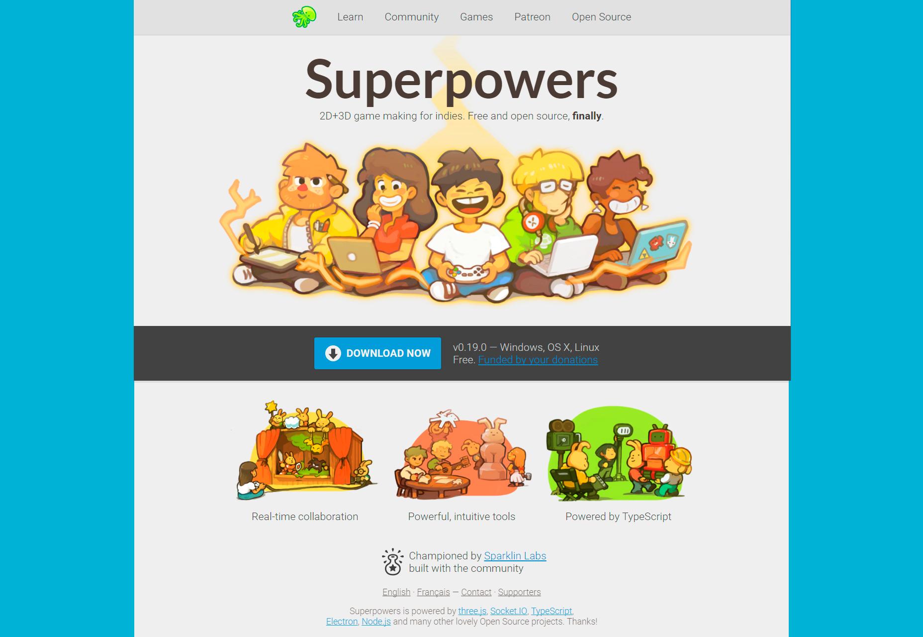 Superpoderes: entorno de creación de juegos de código abierto en 2D y 3D
