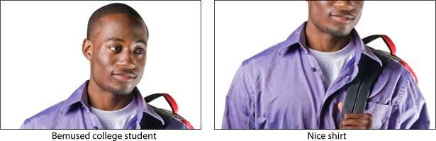 voorbeeld van hoe bijsnijden het menselijke aspect van een foto verwijdert