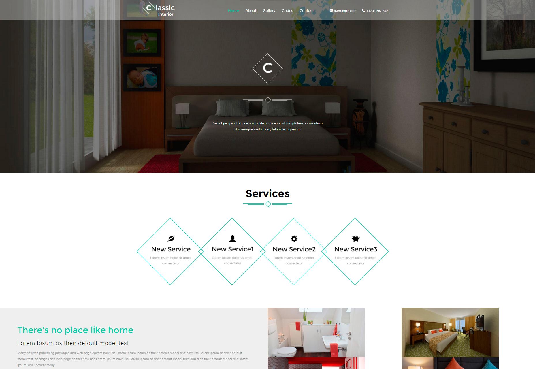 Klasický interiér: Moderní interiérový design stránky Bootstrap šablony
