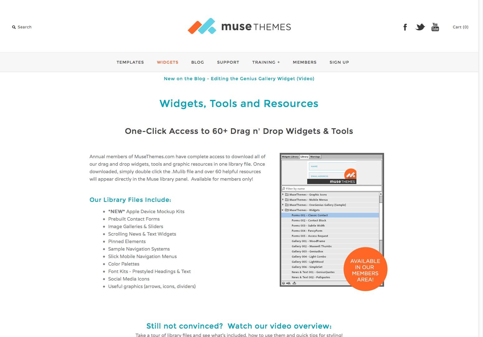 Adobe Muse Widgets Verktøy og ressurser - av Muse Temaer