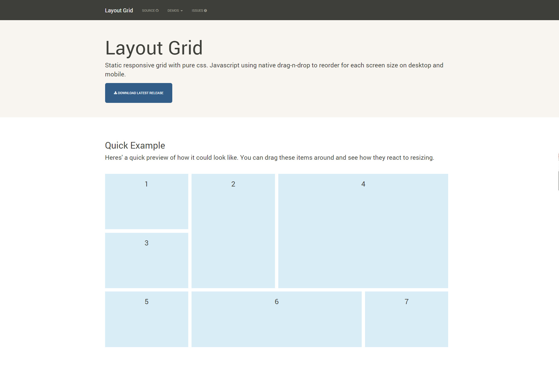 Static Responsive CSS & JS Grid Layout