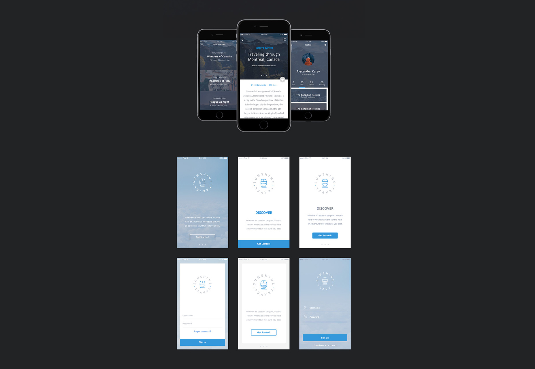 Sunshine Travel: A Traveler Apps UI Kit