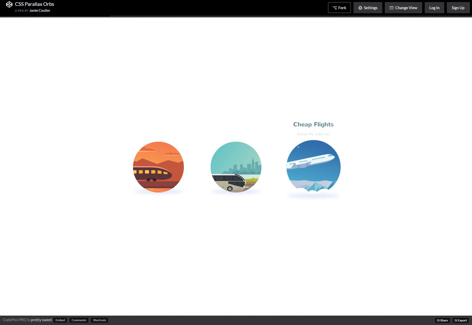 CSS Hover Parallax Animace Orbs