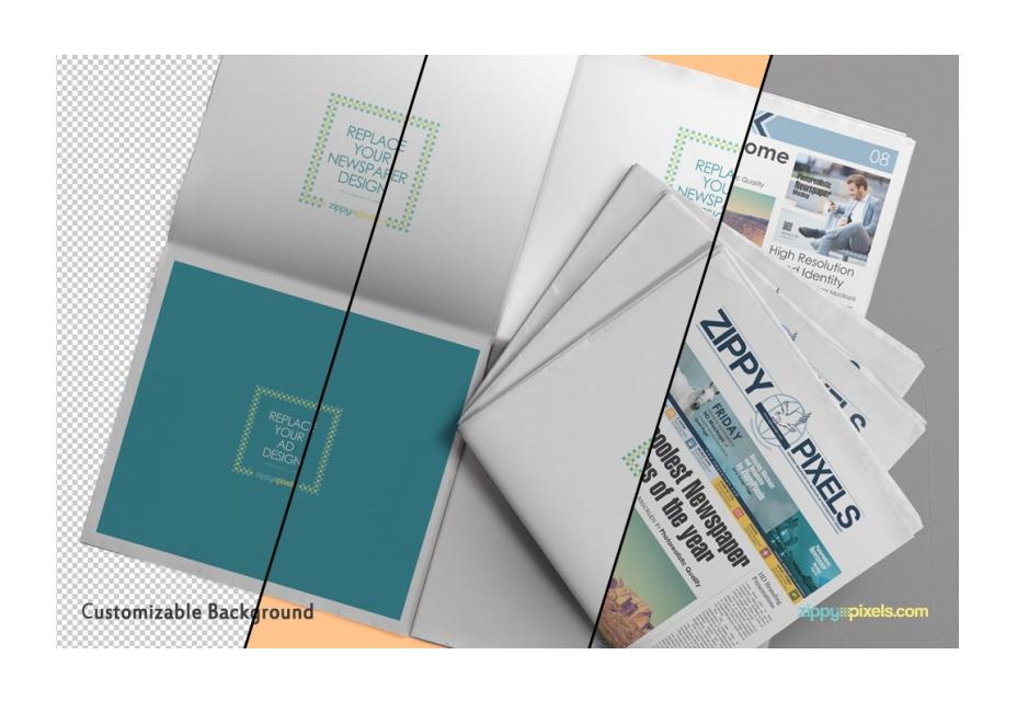 Hermoso periódico anuncio PSD maqueta