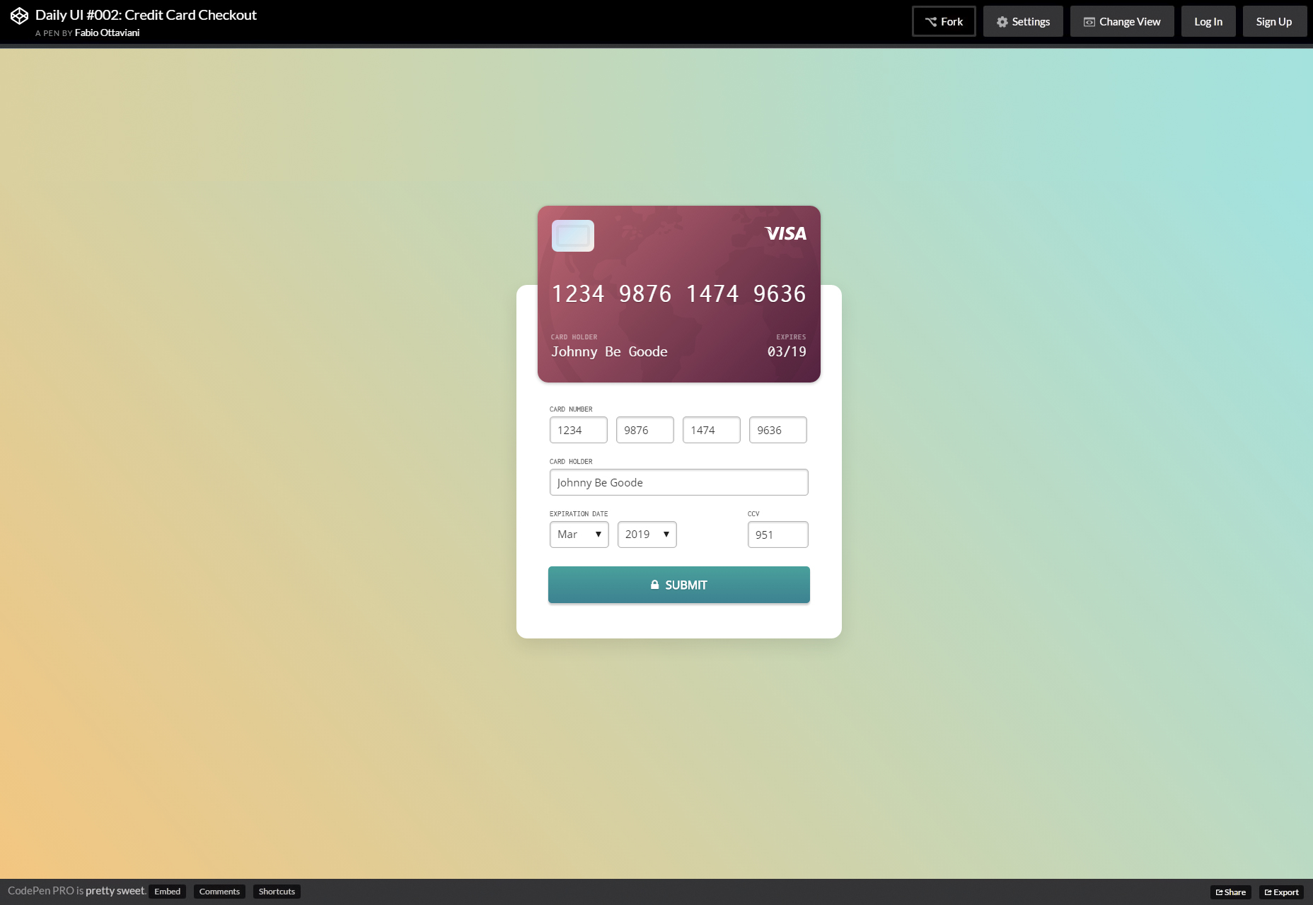 Formulář pro kontrolu plateb kreditní karty Live