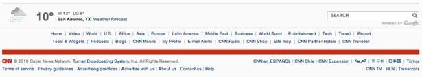 screenshot van de voettekst van CNN