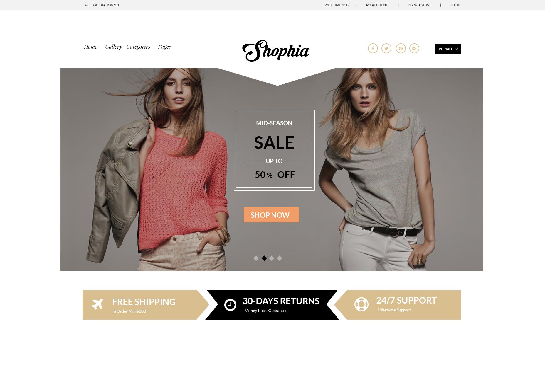 Shophia: gratis E-commerce Website Thema