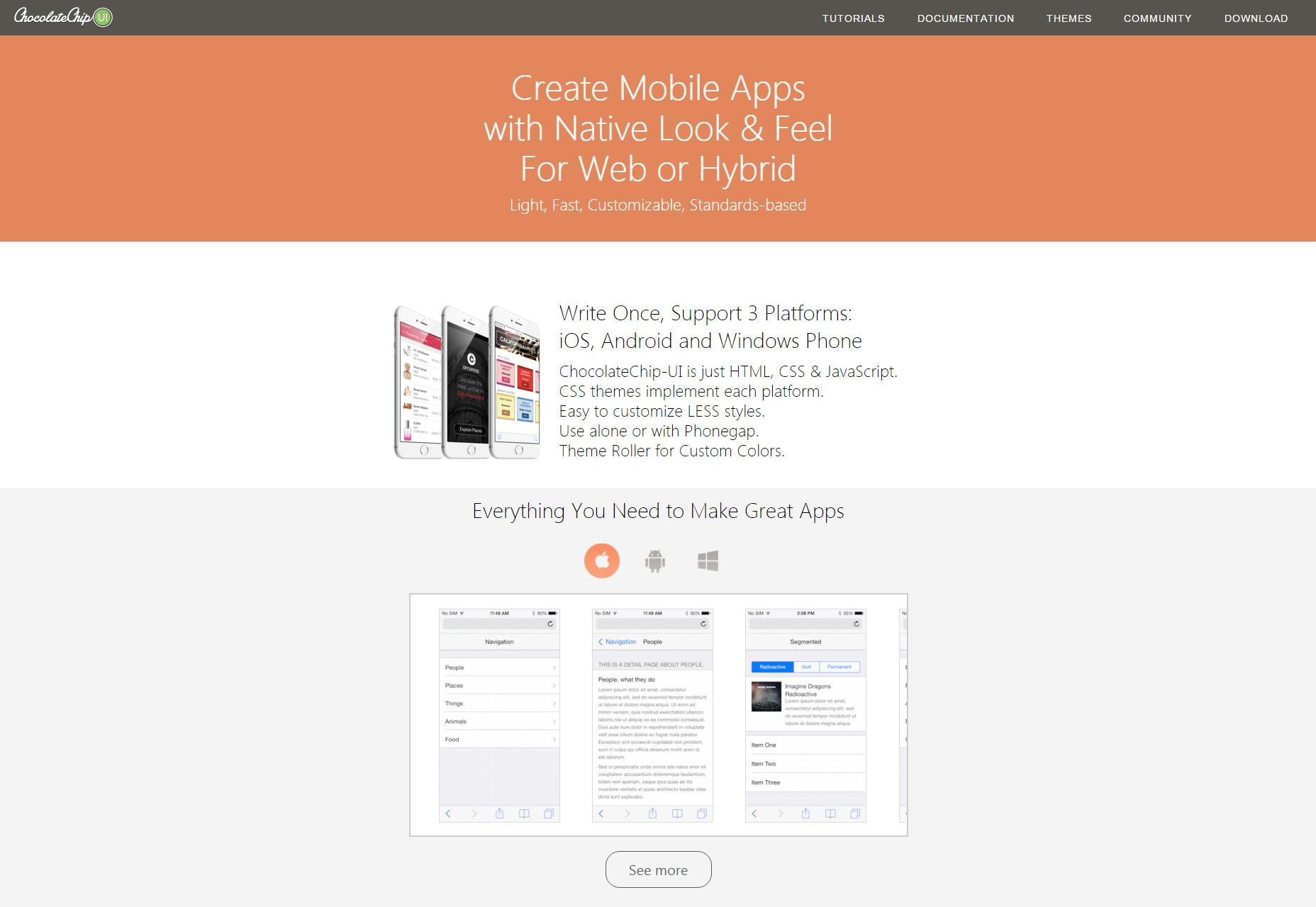 ChocolateChip-UI: Marco de aplicaciones híbridas y móviles