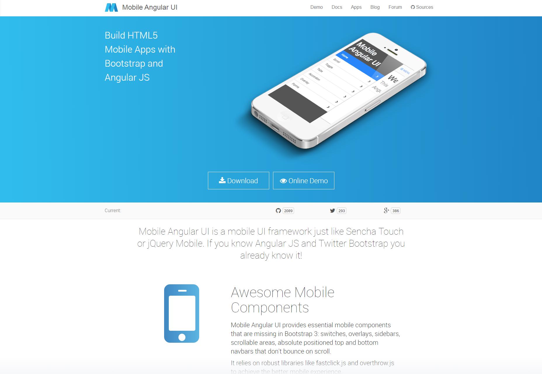 AngularJS y Bootstrap Mobile UI Framework