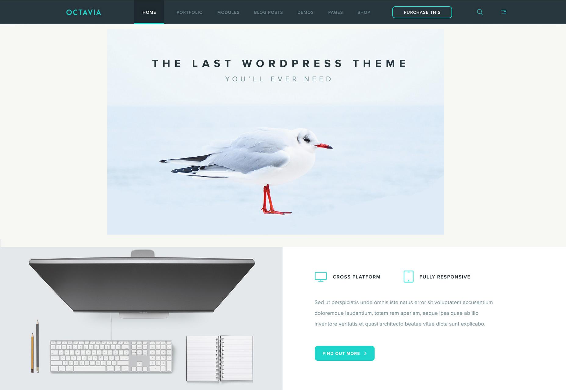 Octavia: Plantilla de PSD de página de aterrizaje limpia y mínima