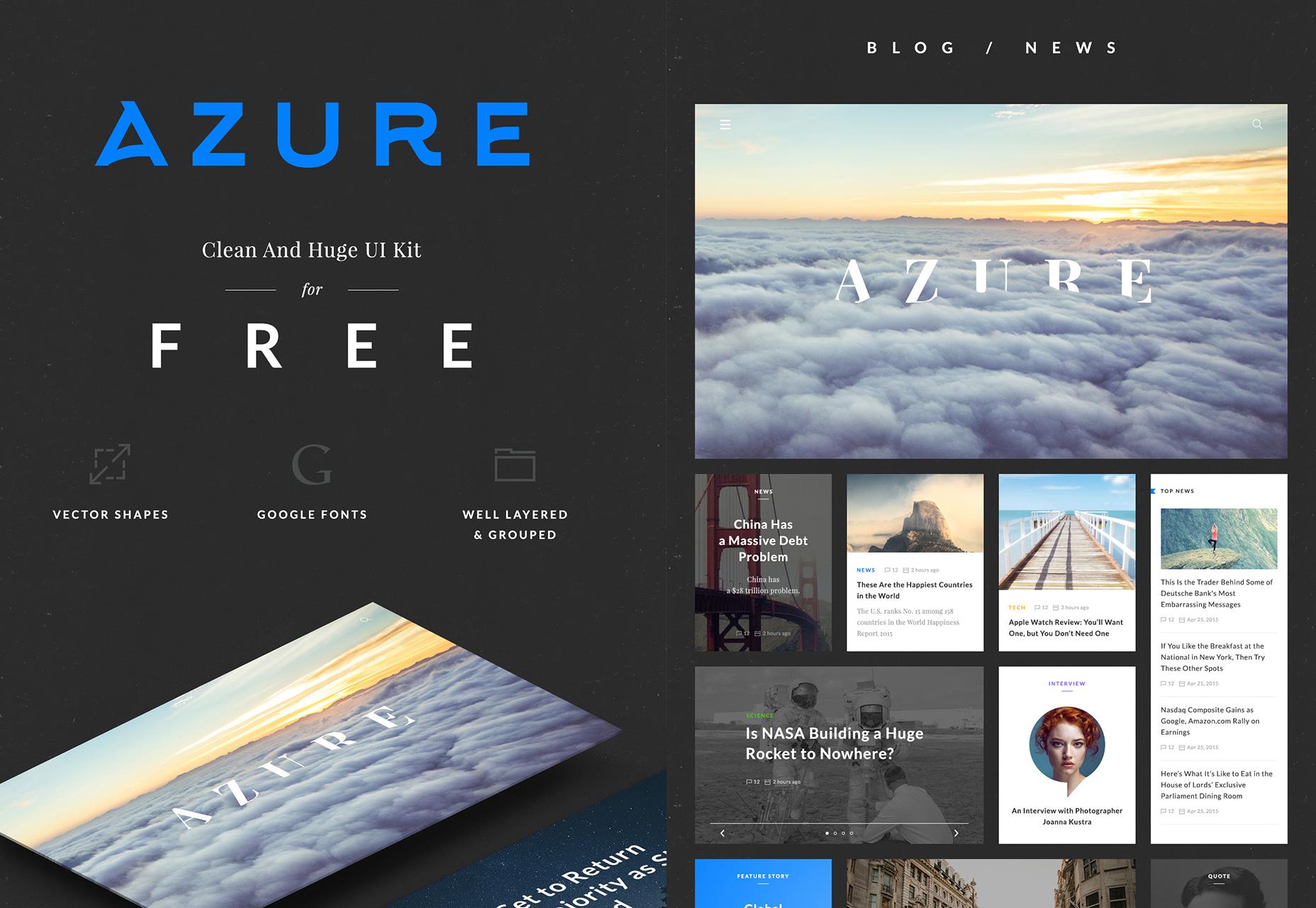 Azure: kit de interfaz de usuario gratuito, limpio y elegante