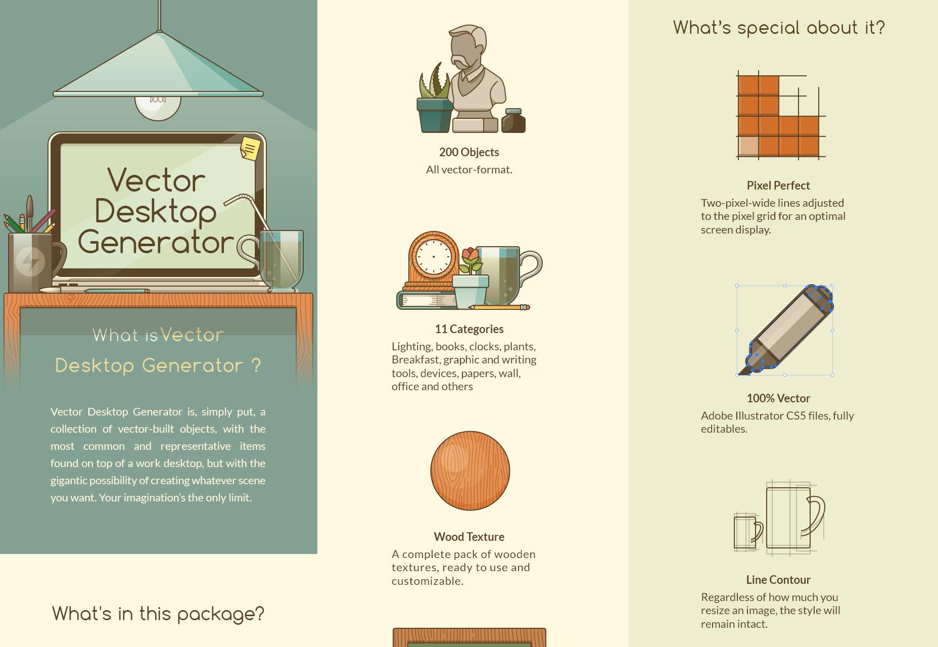 Desktop Generator: 200 elementos editables de vectores