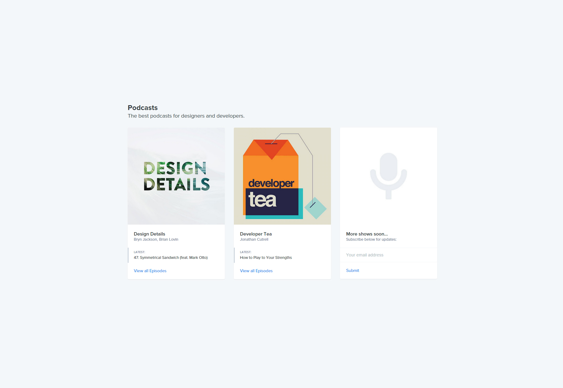 Especificación: Podcasts de aprendizaje para diseñadores y desarrolladores.