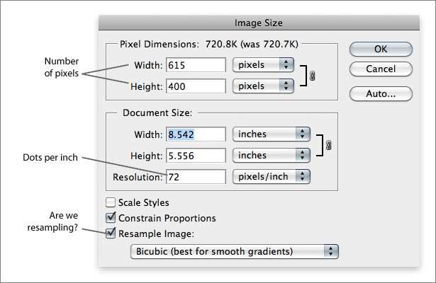 Cuadro de diálogo de tamaño de imagen de Photoshop con remuestreo en