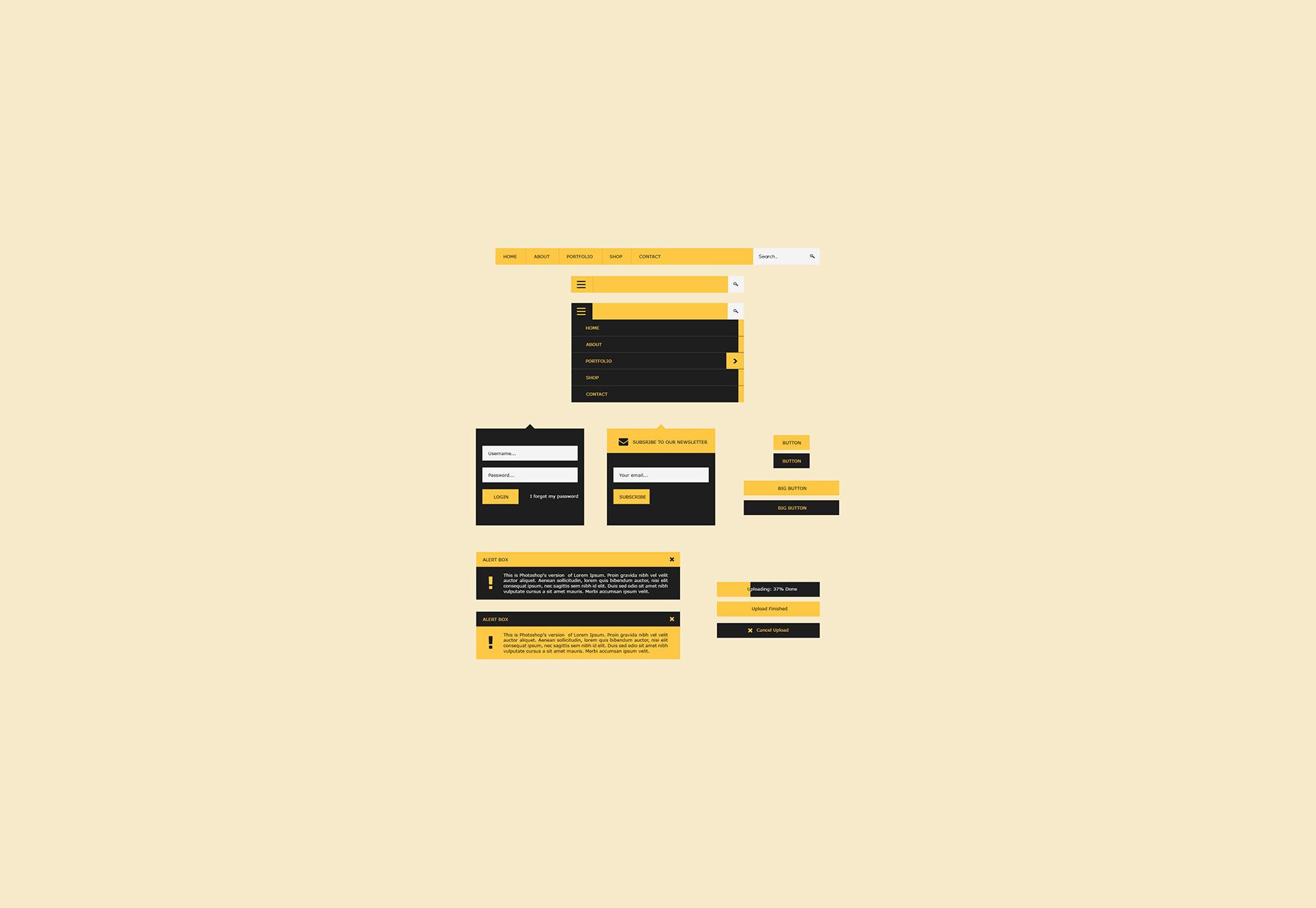Interfaz de usuario plana PSD Design Kit