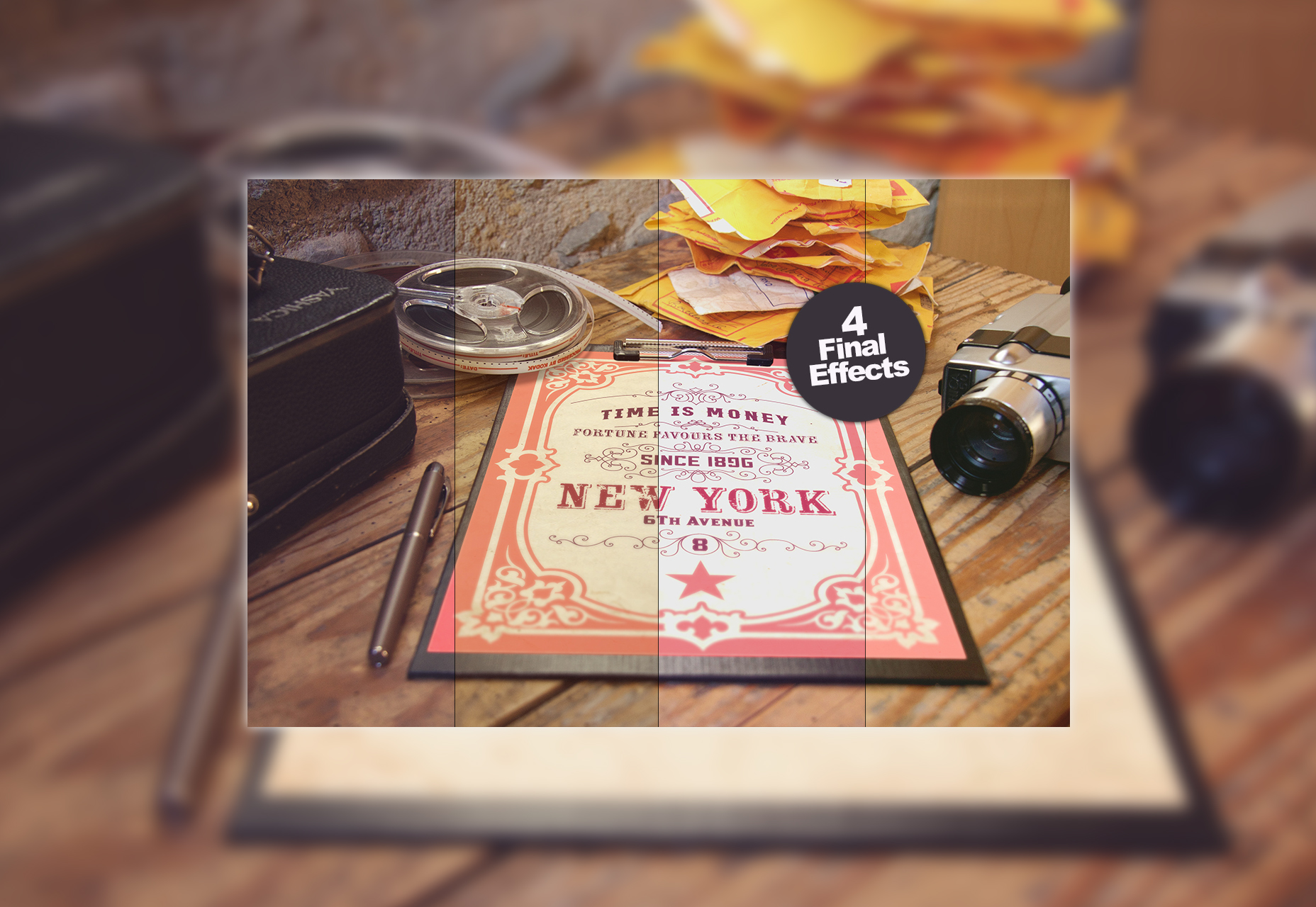 Maqueta de póster vintage gratis en Behance