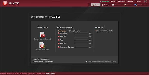 Interfaz de la aplicación iPlotz