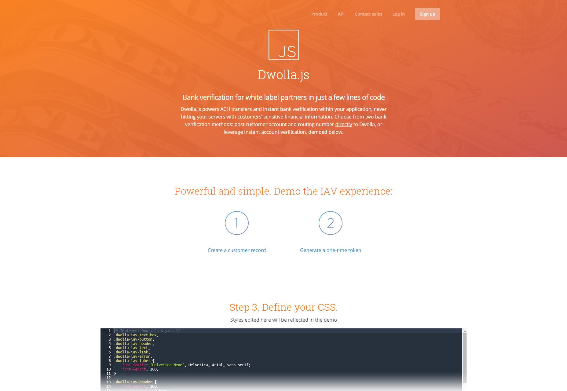 Dwolla.js: verificación de banco asociado de etiqueta blanca corta