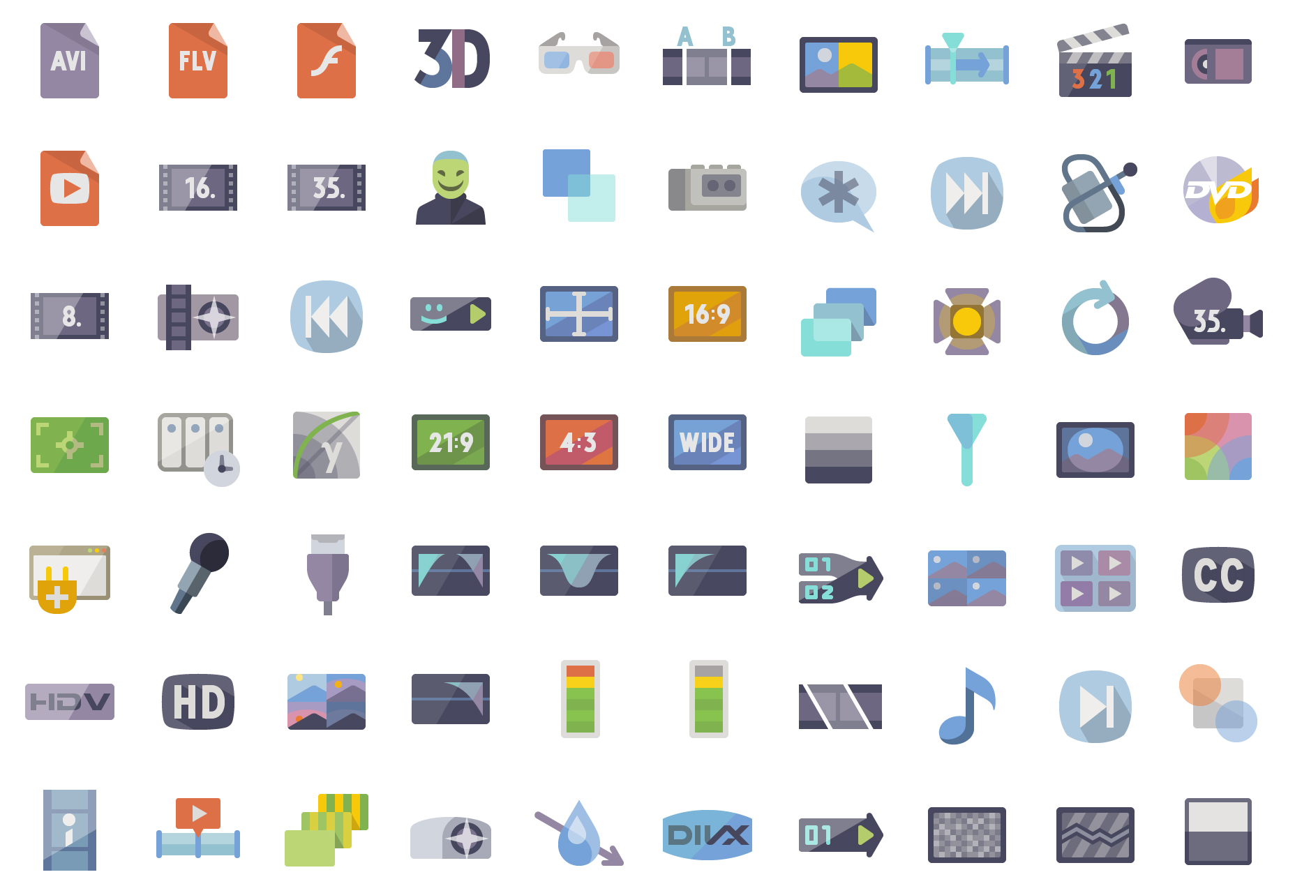 5k Video Production Flat Vector Icons