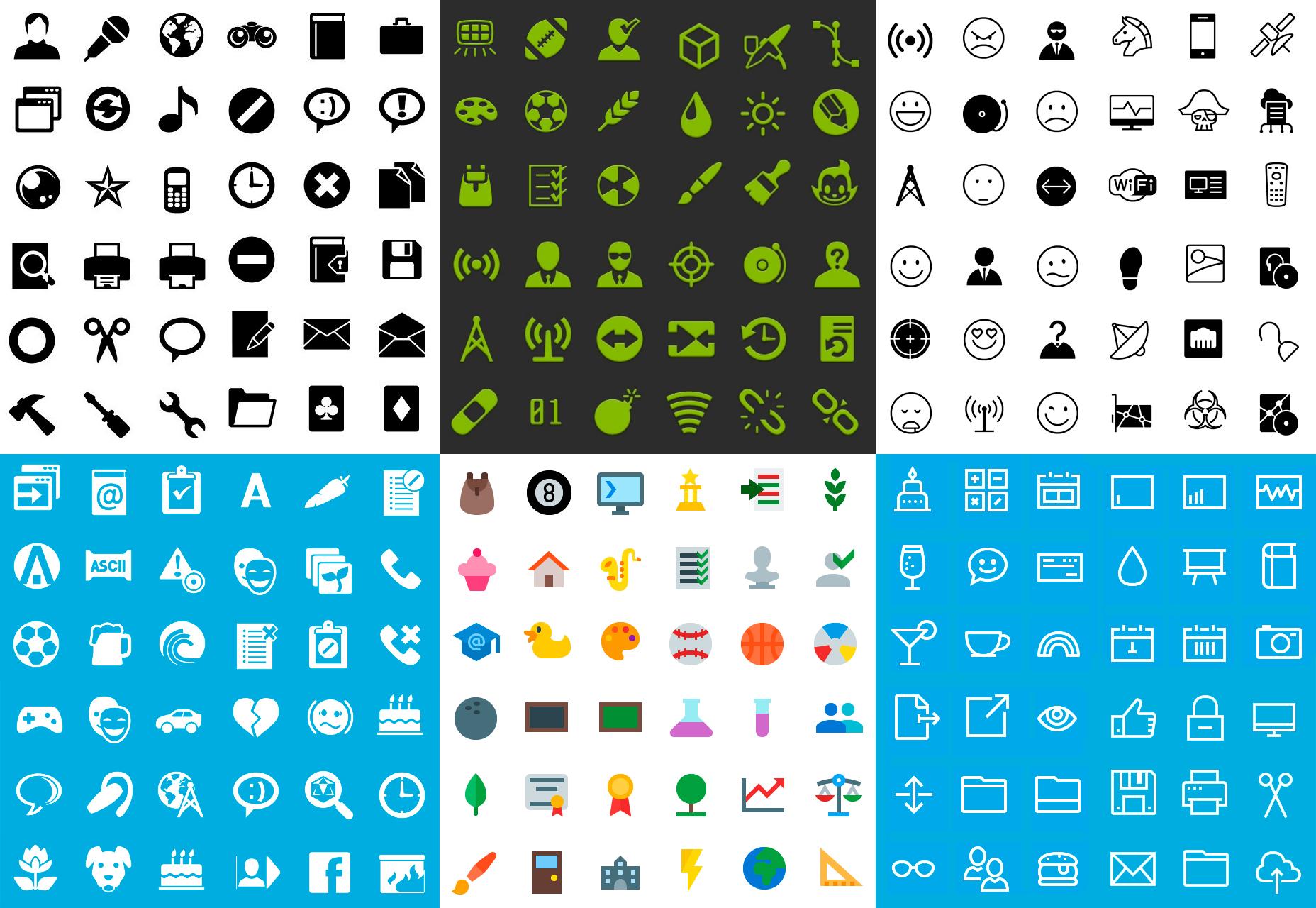 6-stylový mobilní ikonový svazek