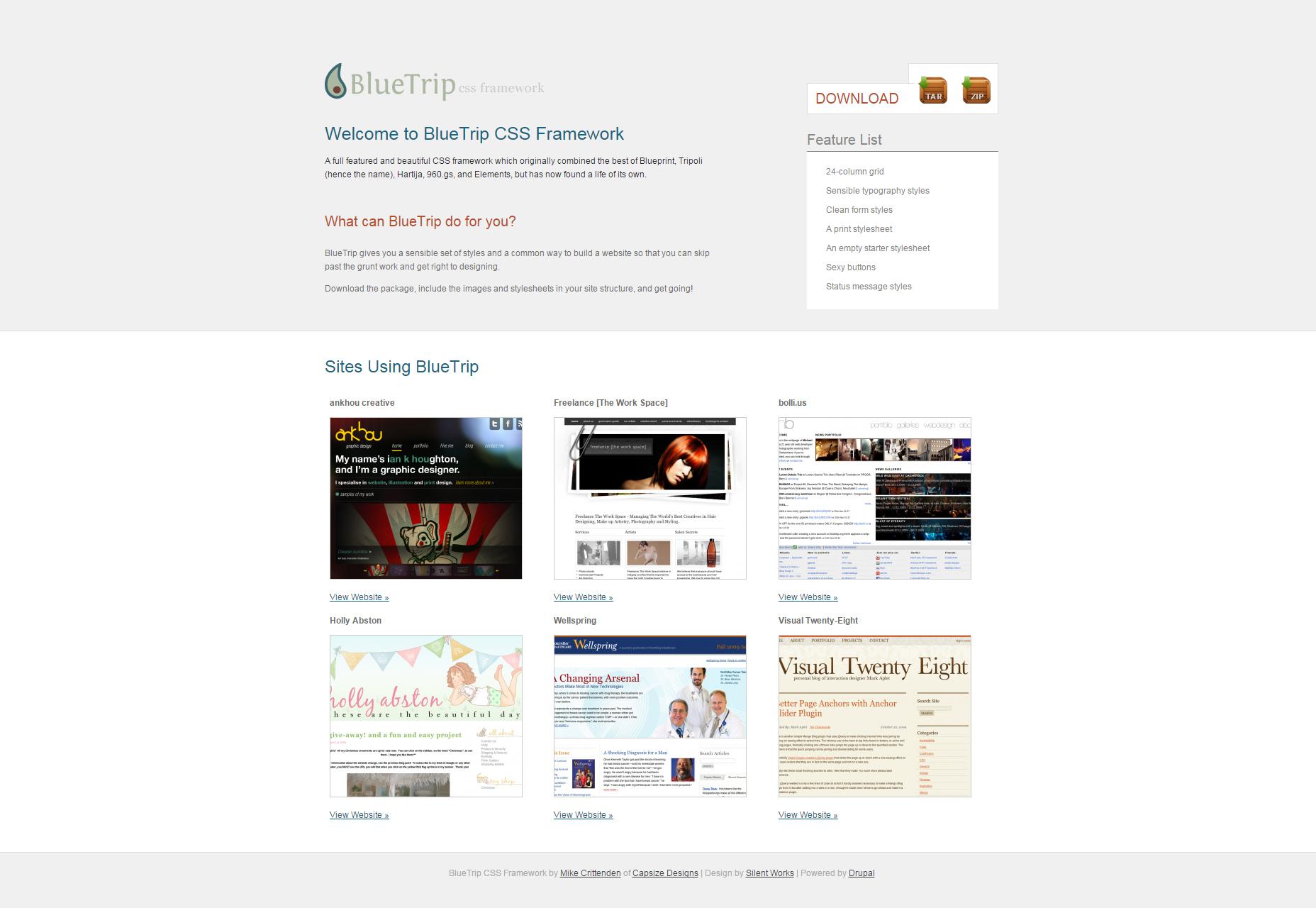 BlueTrip: Un marco de CSS hermoso y completo