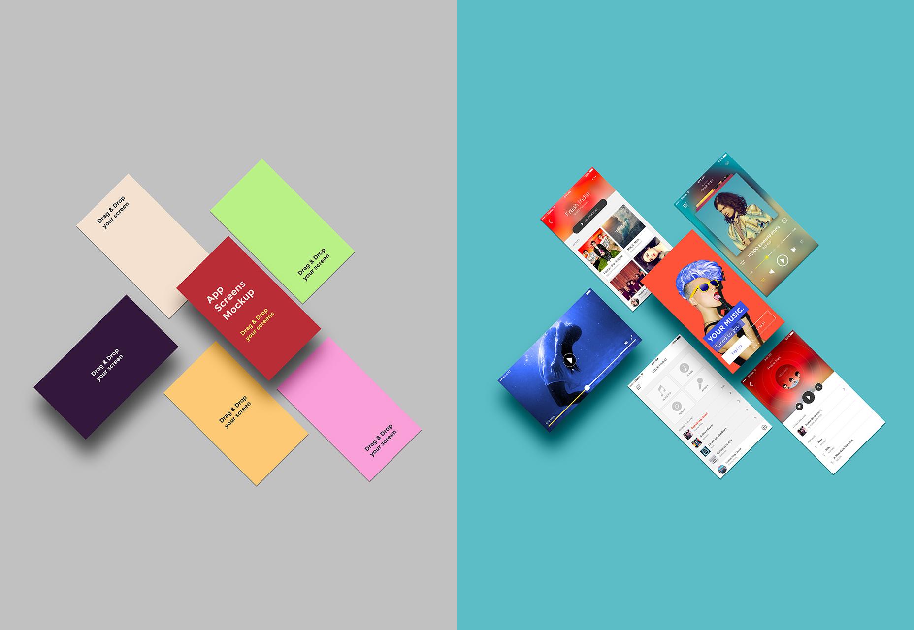Maqueta de pantallas de aplicaciones móviles