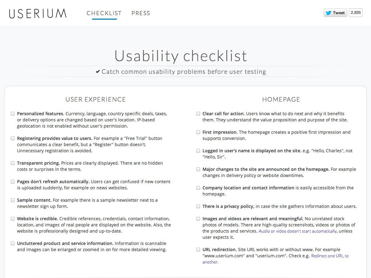 lista de verificación de usabilidad