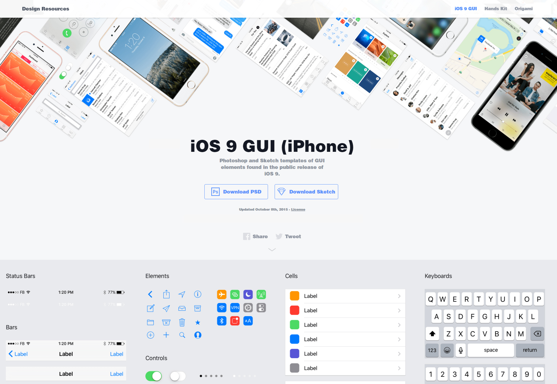 Facebook IOS9 Light: PSD & Sketch UI Kit