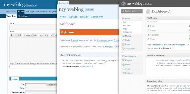 Historia de la interfaz de usuario de WordPress