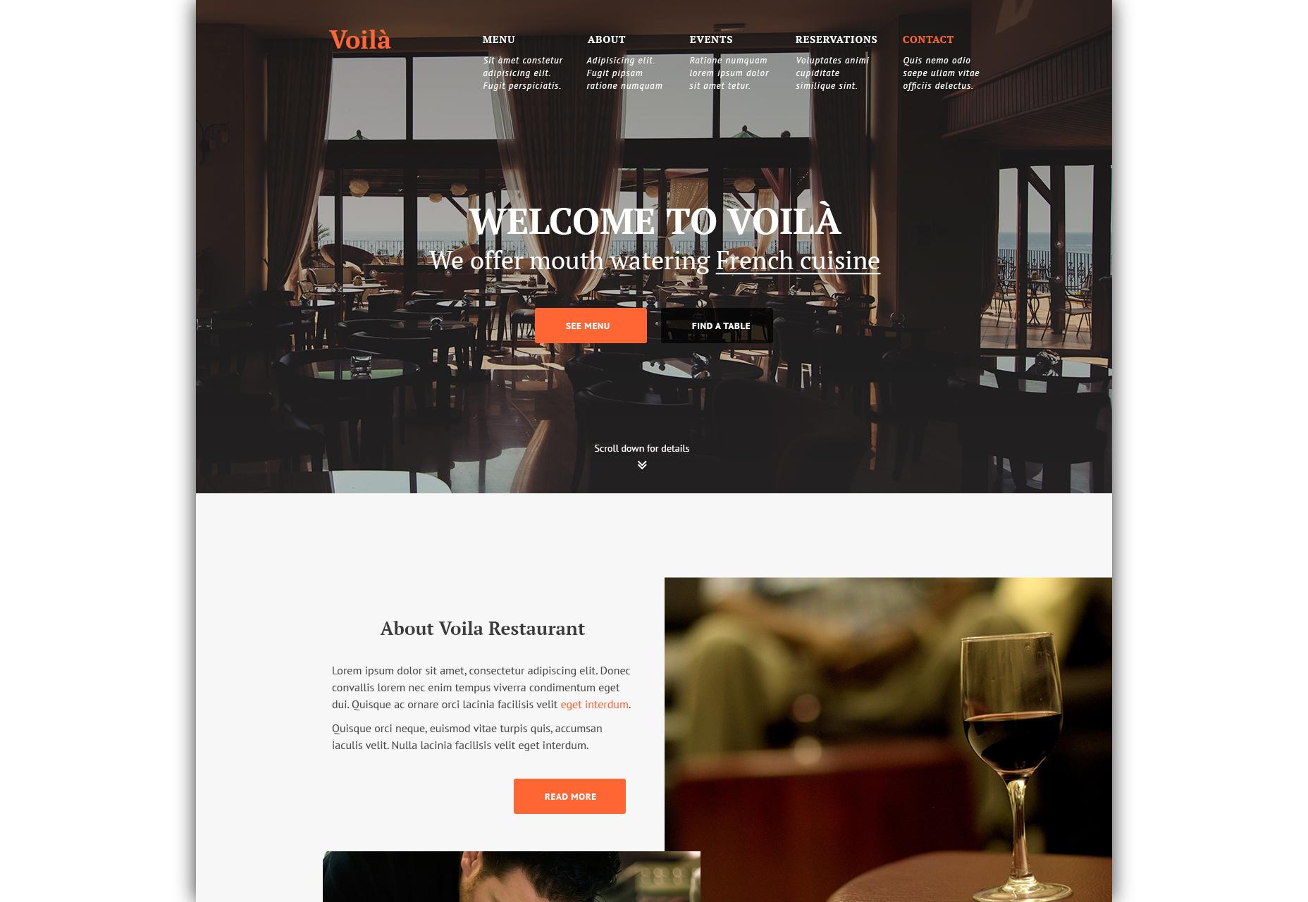 Voila: Ravintola-sivuston PSD-malli