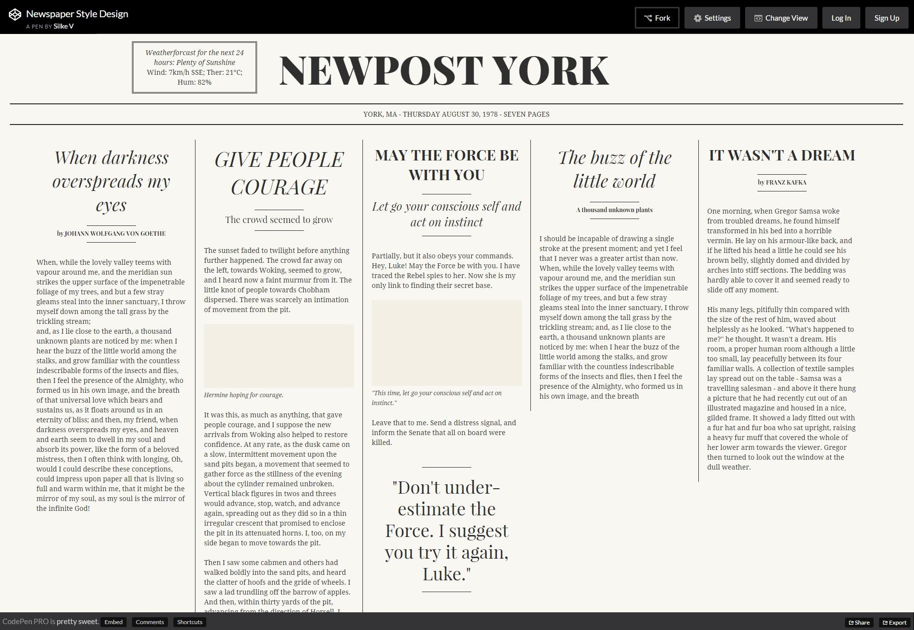 Diseño de estilo de periódico