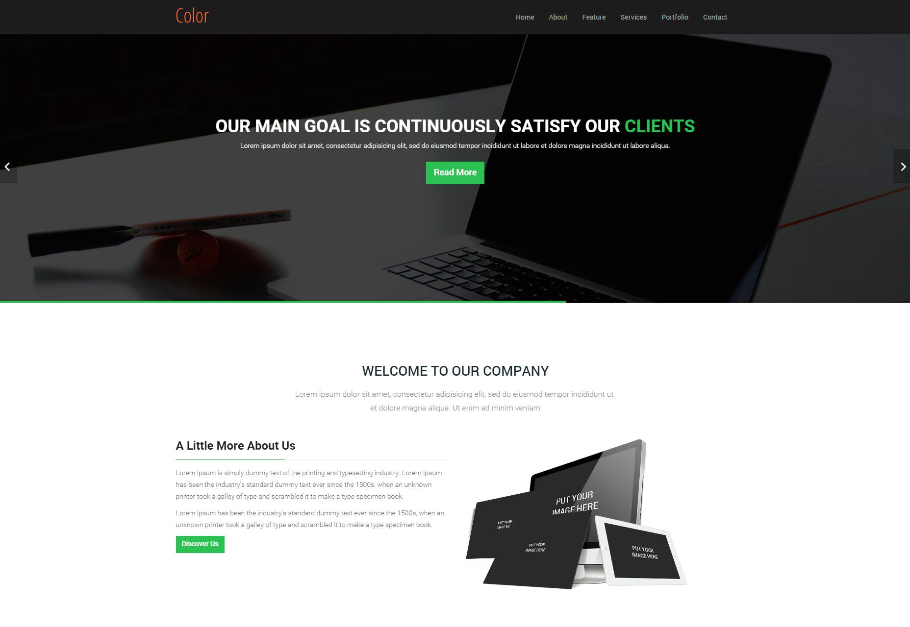 Barva: HTML5 šablona jedné stránky