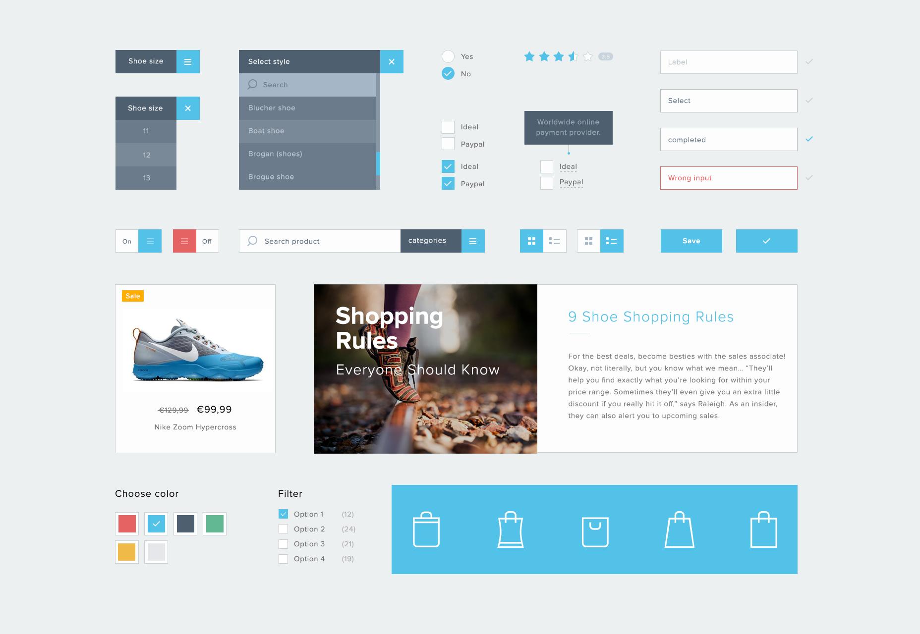 Minimale e-commerce PSD UI-kit