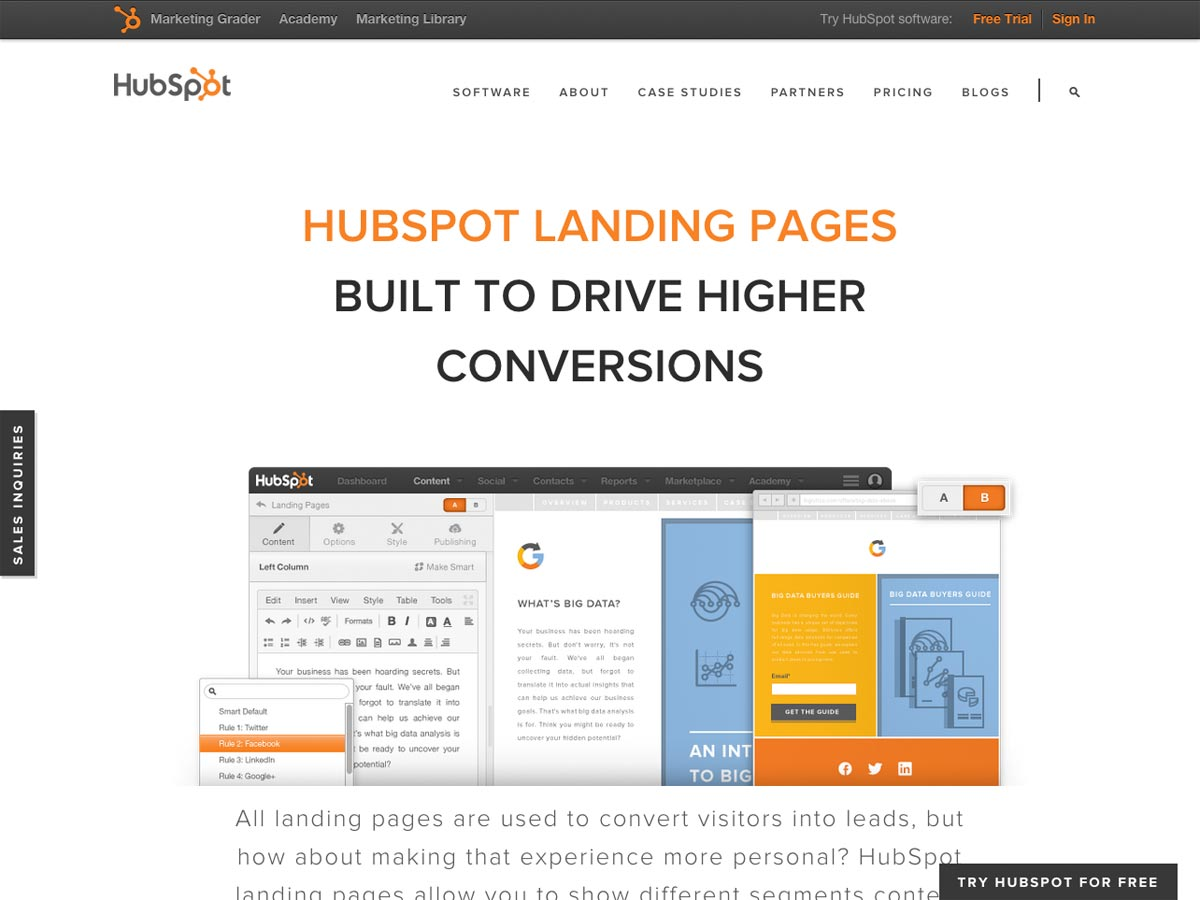 HubSpot Landingssider